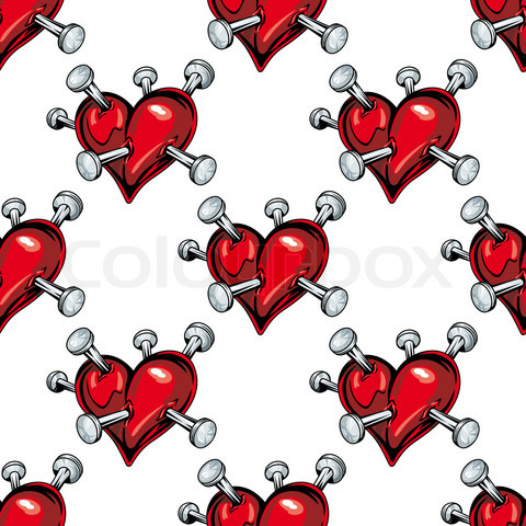 Bleeding hearts seamless pattern