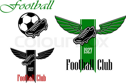 Black and green  football or soccer emblems