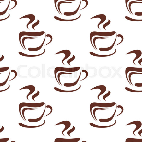 Seamless pattern with steaming coffee cups