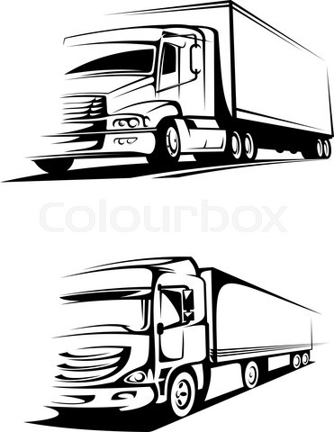 Container trucks in silhouette style