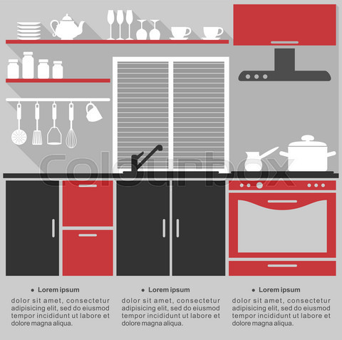 Flat infographic template for a kitchen interior design