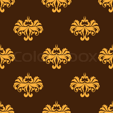 Yellow floral seamless pattern with intricate ornate flowers