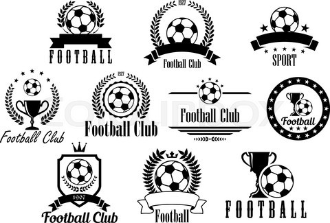 Football or soccer black and white emblems