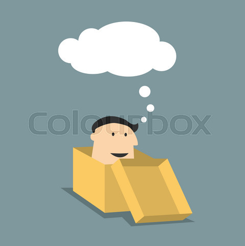 Cartoon man in a box with thought cloud