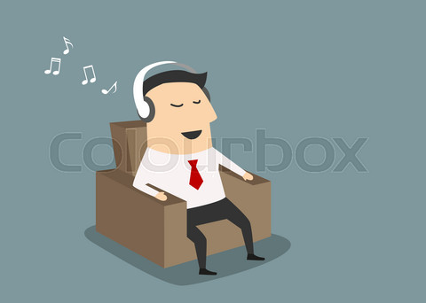 Businessman with headset listening music