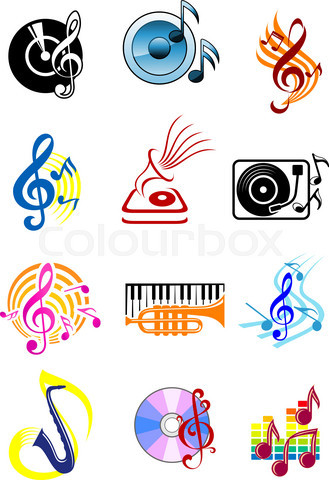Colorful musical icons set