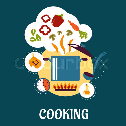Cooking flat infographic with vegetable soup preparation
