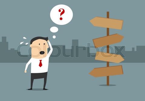 Businessman on crossroad with alternative choice