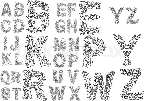 Outline capital letters with foliage ornament