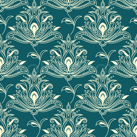Indian styled floral ornament seamless pattern