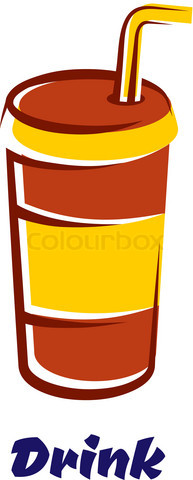 Fastfood cup with lid and straw