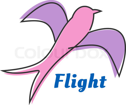 Flying swallow or swift pink silhouette