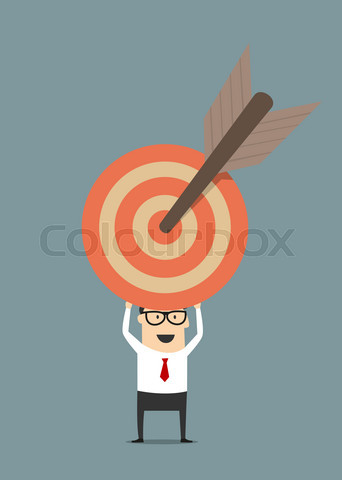 Businessman holding target with arrow