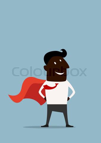 Cartoon african american super businessman