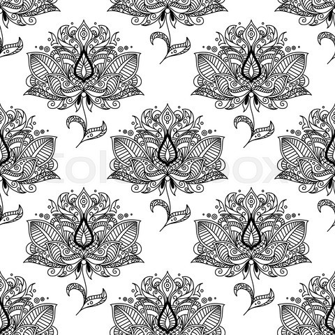 Flowers with ethnic paisley ornaments seamless pattern