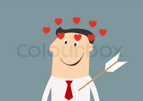 Businessman with arrow in chest surrounded flying hearts