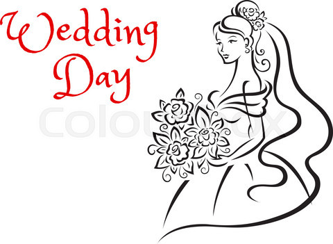 Wedding day card template with young bride