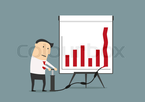 Businessman pumping up graph to increase profit