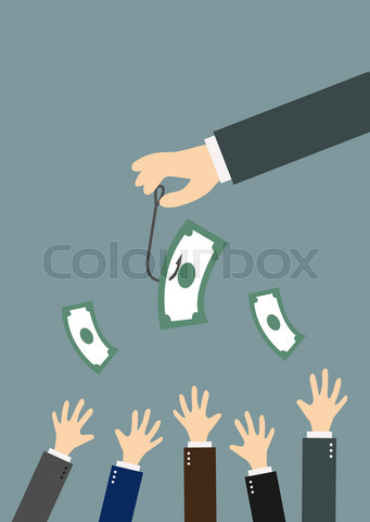 Hands reaching for money on a fishing hook