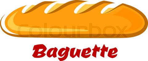 French crispy baguette in cartoon style