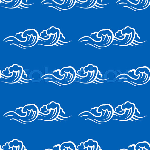 Sea waves and surf seamless pattern