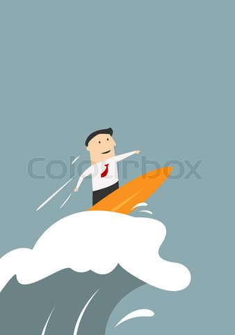 Businessman surfing on a wave of success