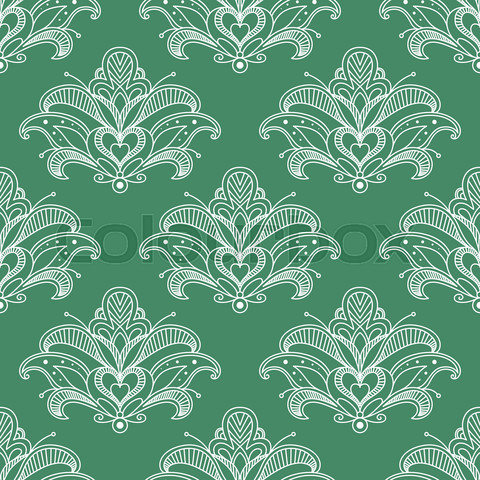 Green and white paisley seamless pattern