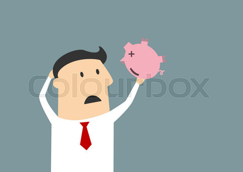 Businessman shaking empty piggy bank