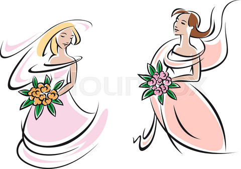 Brides in pink wedding gowns with flowers