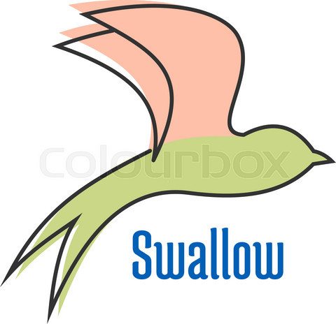 Abstract silhouette of flying swallow bird