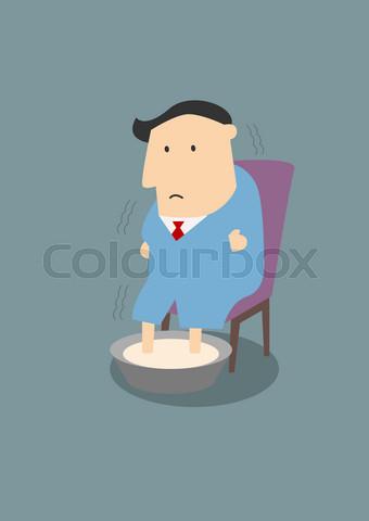 Illness businessman warming feet in hot water