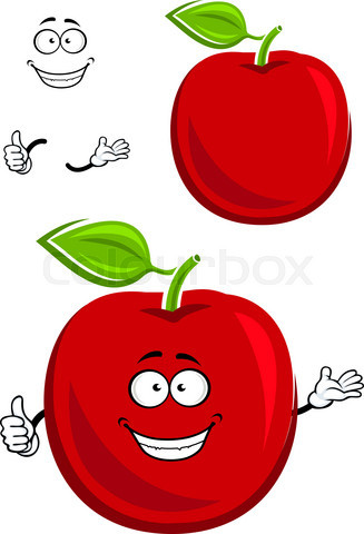 Red apple fruit character showing thumb up
