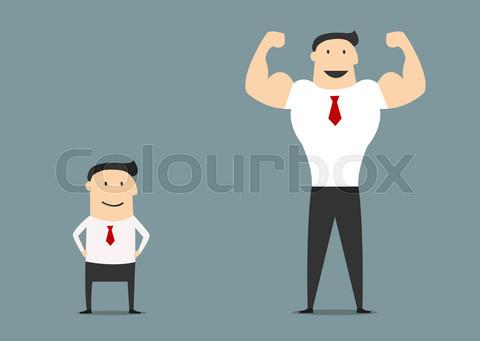 Cartoon little and big businessmen