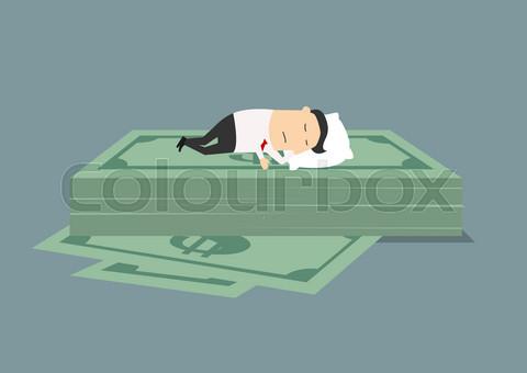 Businessman sleeping on dollar money stack