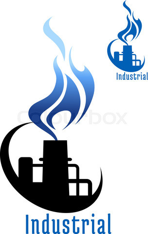 Industrial plant with blue gas flame