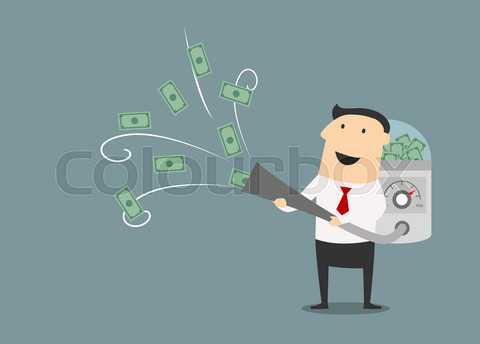Cartoon businessman vacuuming up money