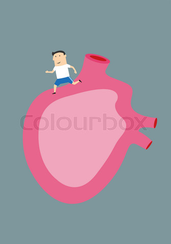 Cartoon man running on a large human heart