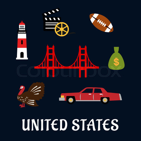 Colored flat travel United States icons
