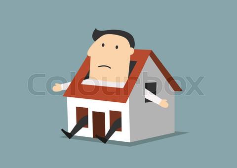 Cartoon businessman sitting in little house