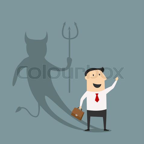 Cartoon businessman with true devil personality
