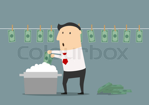 Cartoon businessman laundering illegal money