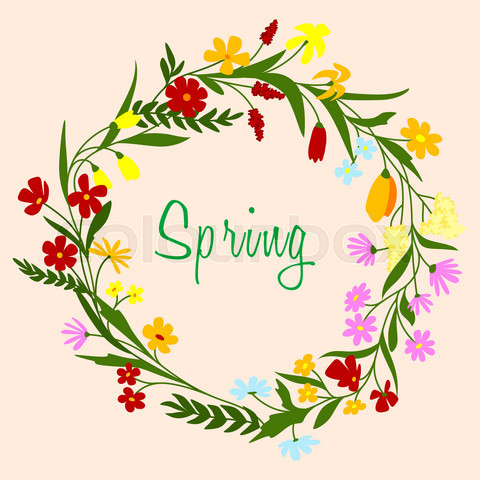 Bright colorful spring floral border