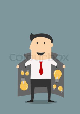 Innovative businessman in jacket selling ideas