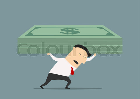 Wealthy businessman carrying stack of money