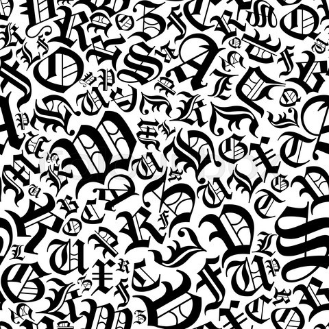 Seamless alphabet pattern in a gothic font style