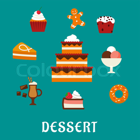 Desserts with cake and confectionery icons