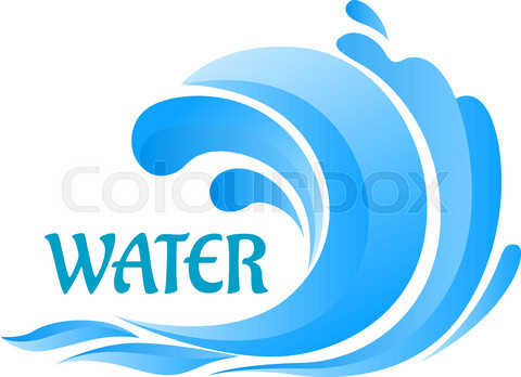 Sea wave symbol with water splashes