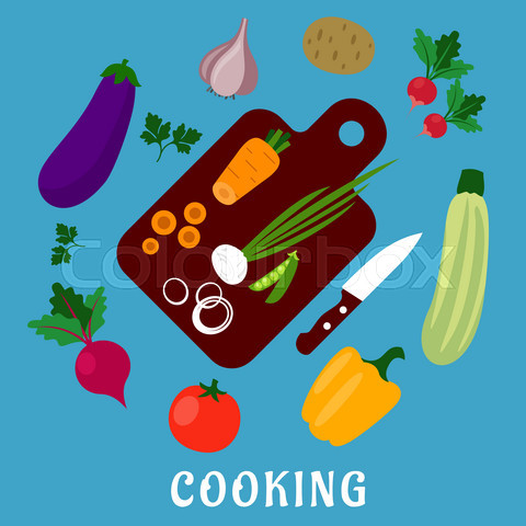 Process of cooking a vegetable salad, flat style