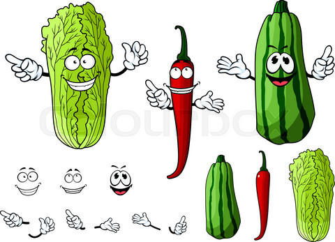 Chili pepper, chinese cabbage and zucchini vegetables
