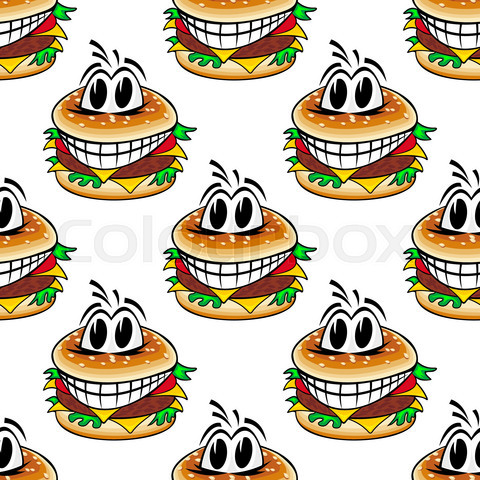 Crazy fast food cheeseburgers seamless pattern